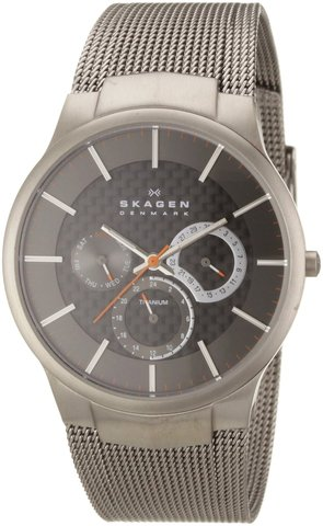Skagen Men's Carbon Fiber Dial Titanium Watch
